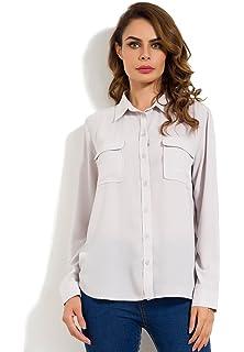 5ba363af8c504 MSHING Womens Casual Chiffon Blouse V Neck Long Sleeve Button Down Shirt