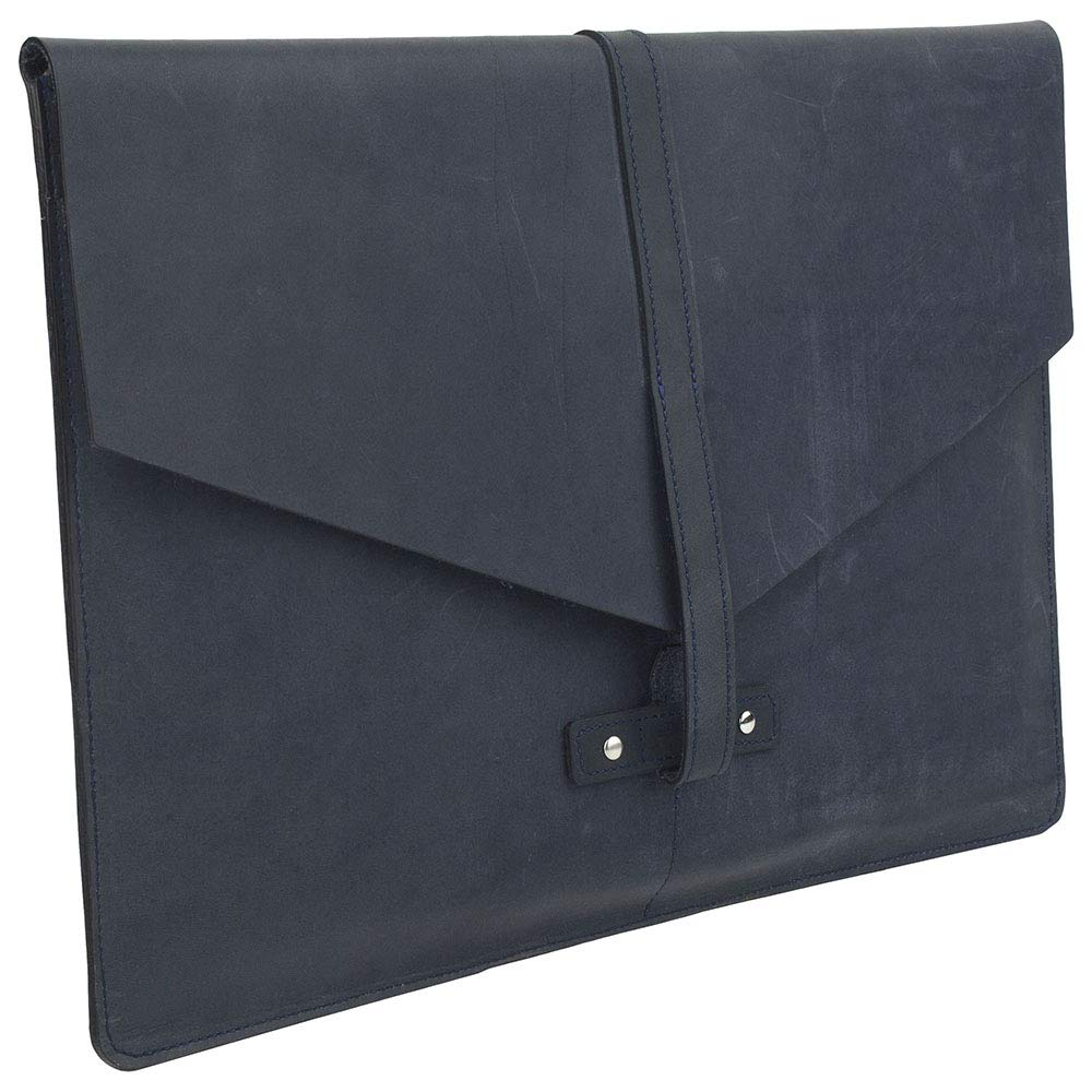 """SLATE COLLECTION Belltown Laptop Sleeve, Full-Grain Leather (Indigo, fits 15"""" Laptop) by SLATE COLLECTION (Image #2)"""
