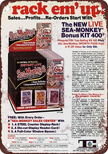 (1972 Sell Sea-Monkey Kits for Profits Vintage Look Reproduction Metal Tin Sign 12X18 Inches )