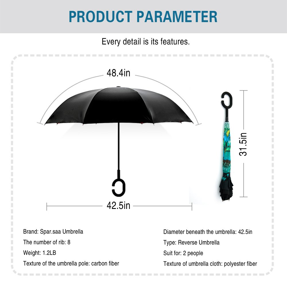 Spar. Saa Double Layer Inverted Umbrella with C-Shaped Handle, Anti-UV Waterproof Windproof Straight Umbrella for Car Rain Outdoor Use by Siepasa (Image #8)
