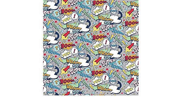 Super Hero White Action Words Fabric C9000-White from Riley Blake by The Yard
