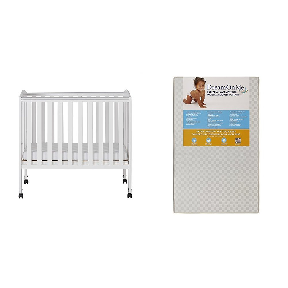 Dream On Me 2 in 1 Portable Folding Stationary Side Crib with Dream On Me 3 Portable Crib Mattress, White