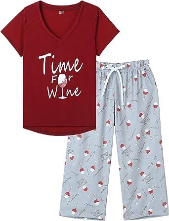 MyFav Pijama de verano para mujer, de manga corta, pantalón de pijama, ropa de noche, ropa de casa, dos piezas