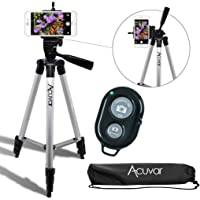"Acuvar 50"" Inch Aluminum Camera Tripod with Universal Smartphone Mount and Wireless Remote Control Camera Shutter for All Smartphones"
