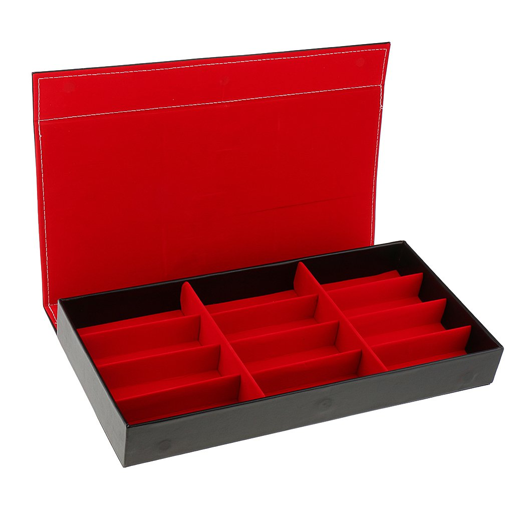 Dovewill PU Leather Eyewear Storage Tray Display Case 12 Slots Eyeglasses Sunglasses Organizer Collector - Red by Dovewill