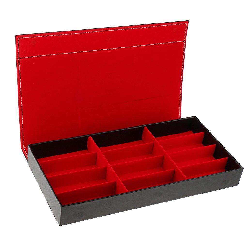 Dovewill PU Leather Eyewear Storage Tray Display Case 12 Slots Eyeglasses Sunglasses Organizer Collector - Red