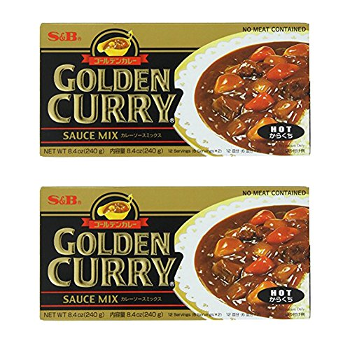 S&B Golden Curry Sauce Mix, [ 2 Packs ] Hot, 8.4-Ounc