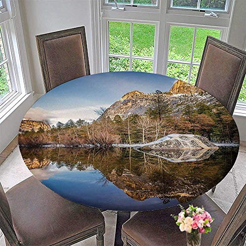 Premium Tablecloth Yosemite Mirror Lake and Mountain Reflection on Water Sunset Evening View Picture Navy Everyday Use 35.5