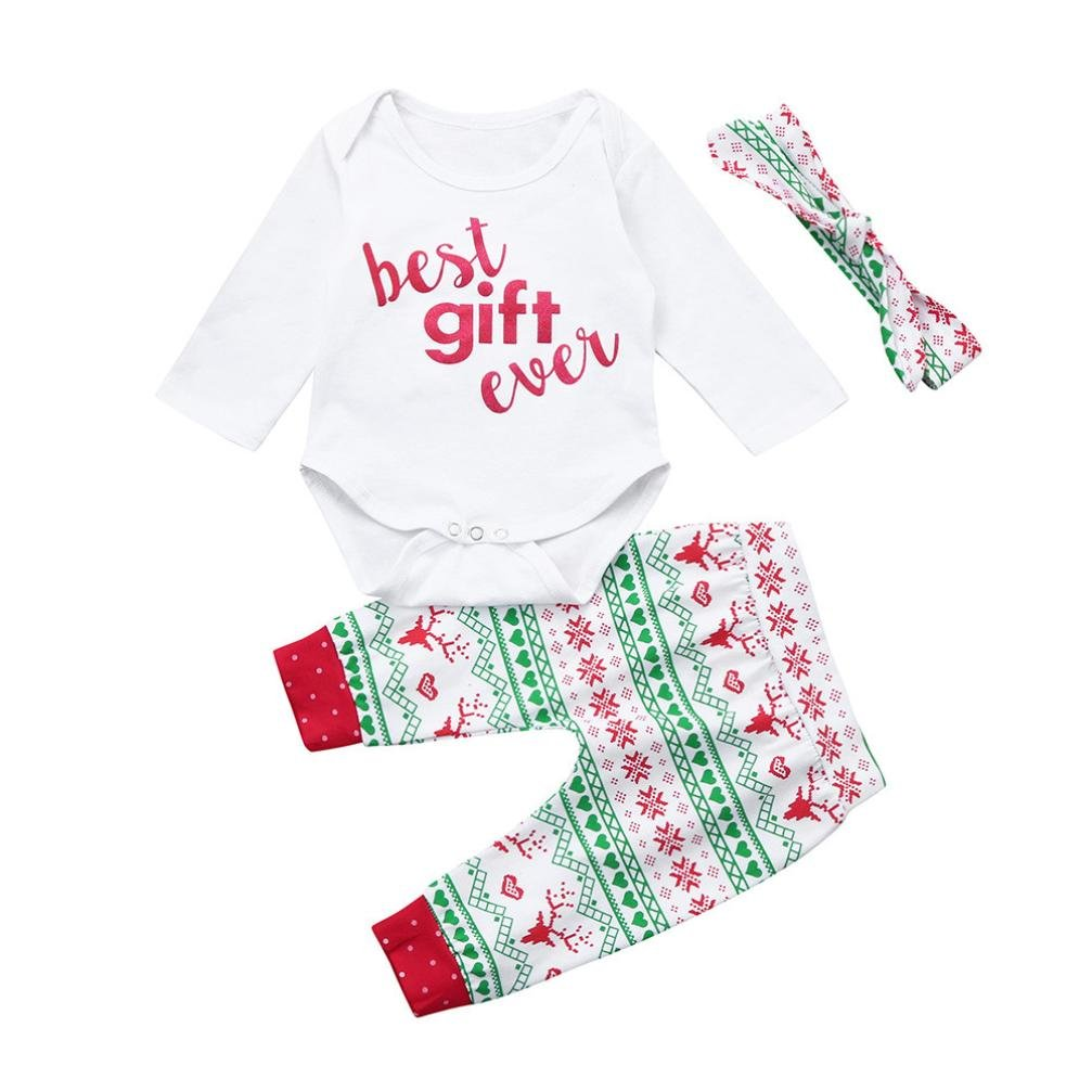 3pcs Kids Baby Girl Boy Christmas Outfit Clothes Best Gift Ever Romper+Pants Set