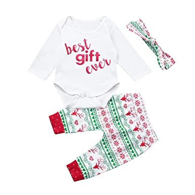 763bbe497c65 Amazon.com: 3pcs Kids Baby Girl Boy Christmas Outfit Clothes