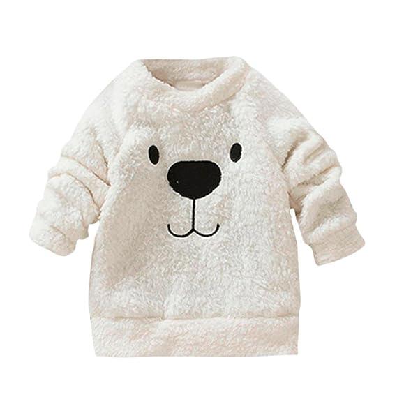 Logobeing Grueso Suéter Abrigo de Dibujos Animados Oso Niños Bebé de Lana Cálida  Blusa Camiseta ( 7c0afdb08904