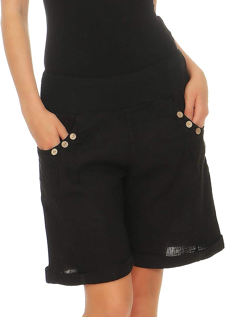 Malito Donna Lino Pantaloni Casual Bermuda Pantaloni Uni Colors 6820