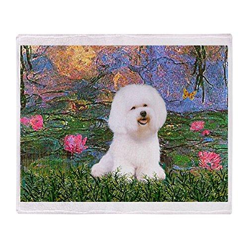 CafePress Lilies 4 / Bichon 1 Soft Fleece Throw Blanket, 50