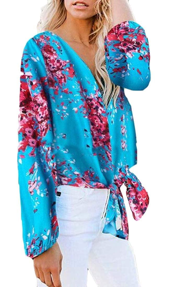 Rrive Womens T-Shirts V-Neck Retro Flower Printing Long Sleeve T-Shirt Top Blouse