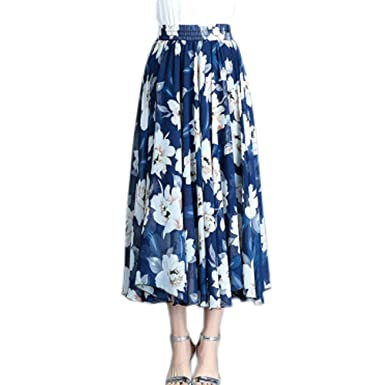 f9394e09a1 Women's Maxi Chiffon Elastic Waist Floral Printed Summer Skirts Lady High  Waist Slim Pleated Bohemia Beach