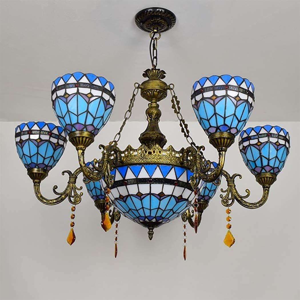 Tiffany-Stil Große Kronleuchter Licht, 6 Arme Buntglas Shade Deckenpendelleuchte Fixture Antiquität Rustikal Leuchter-Lampe für Esszimmer Wohnzimmer,Dragonfly Blue
