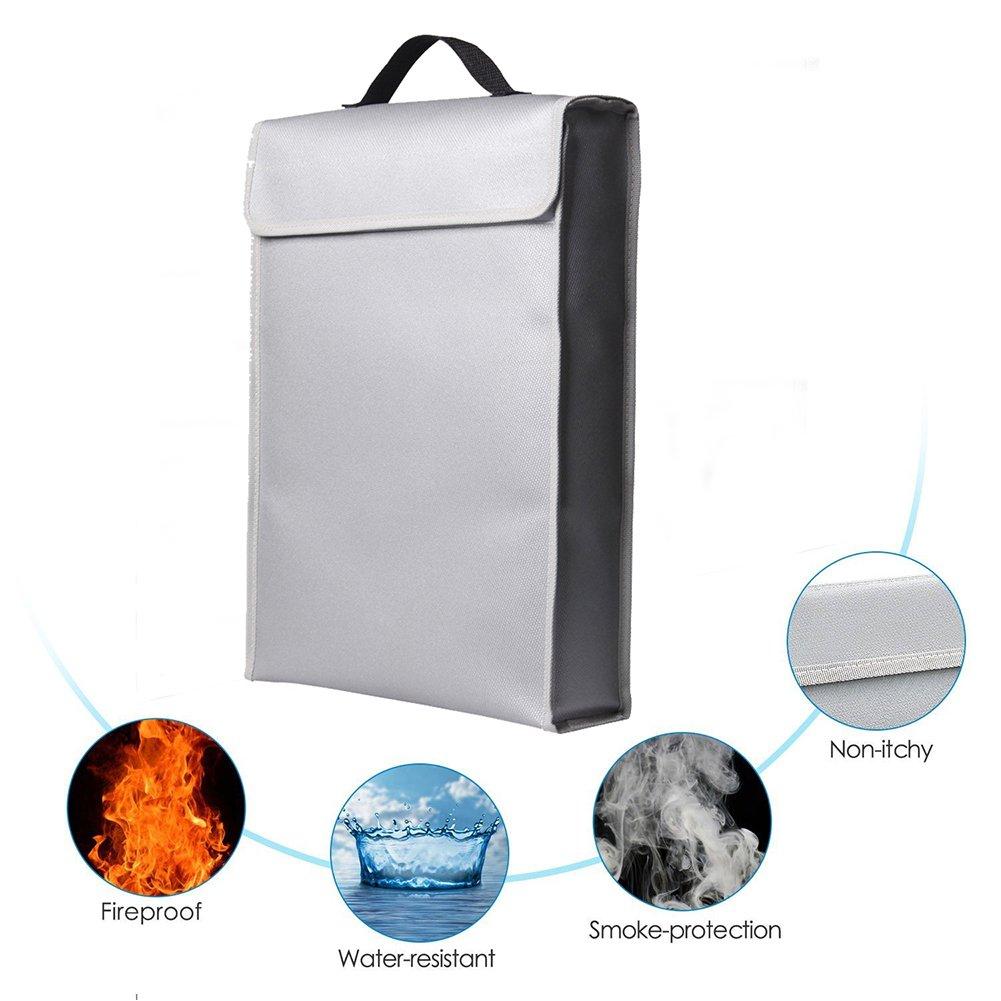 Fireproof Document Bag, VLENIEN Fireproof Money & Document Bag 15'' x 12'' x 2.55'' Fireproof Safe Storage for Money, Documents, Jewelry and Passport (Grey)