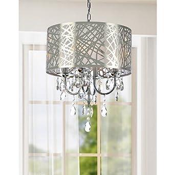 Modern 4 Light Round Crystal Chandelier Pendant Ceiling Fixture