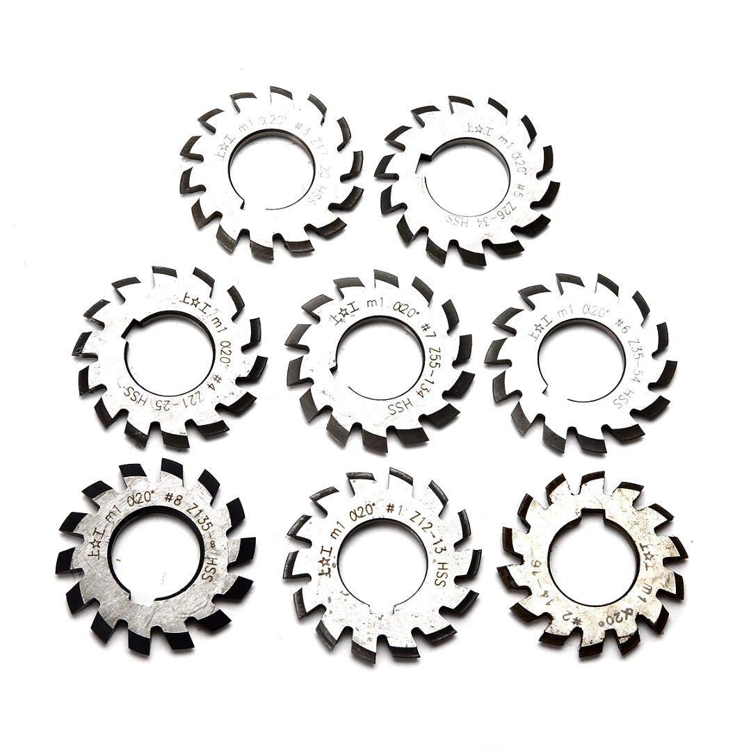 N1 - N8 Involute Gear cutter set M 0.5 pa 20 ° HSS module M0,5