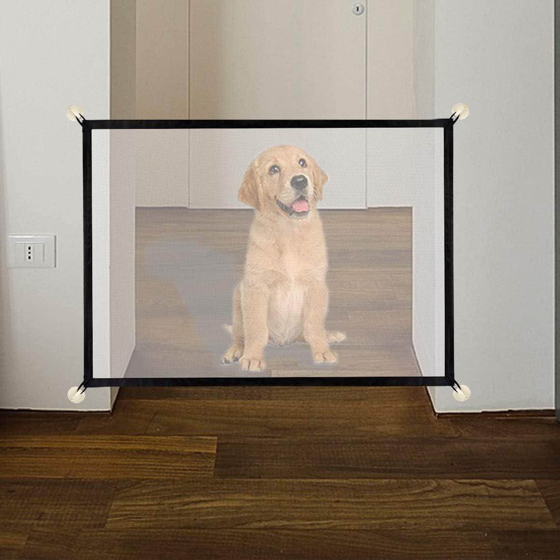 Puerta mágica para perros, Barrera de Seguridad Plegable portátil Protector Seguro, Puerta de Escalera para Mascotas, Mascota Aislante Red de Seguridad para Perros, Gatos, Bebés (110 x 72 cm): Amazon.es: Bebé