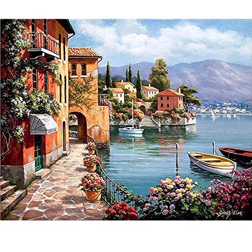 SUBERY DIY Oil Painting, Paint by Number Kit - Beautiful Harbor Village Drawing 16x20 inch (Without Frame) (Village Kit)