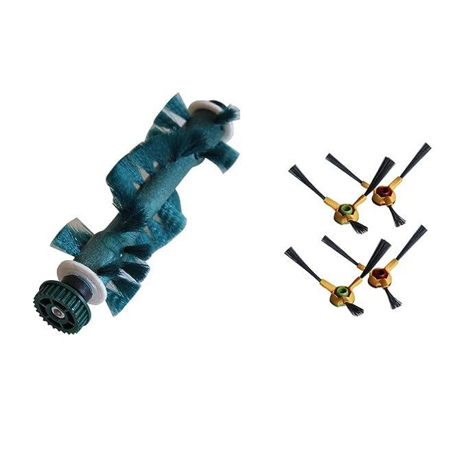reyee 4 * Cepillo lateral + 1 * principal aspiradora cepillo de repuesto para ECOVACS Deebot D73 deeboo D76 D77 Robot aspiradora partes: Amazon.es: Hogar