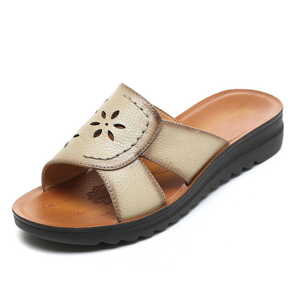 PENGFEI Verano Zapatillas Pantofola Hembra Fondo Plano Casual De Edad Mediana, Altura del Talón 3.5CM, 5 Colores (Color : Beige, Tamaño : EU42/UK7.5/US9/260) EU42/UK7.5/US9/260|Beige