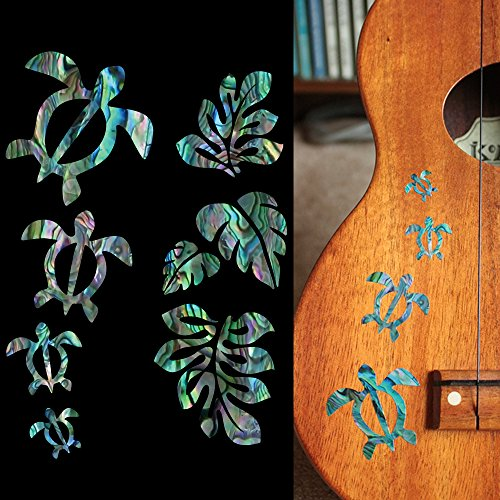Honu Family & Hawaiian Tropical Plants Inlay Stickers Decals / AB ()