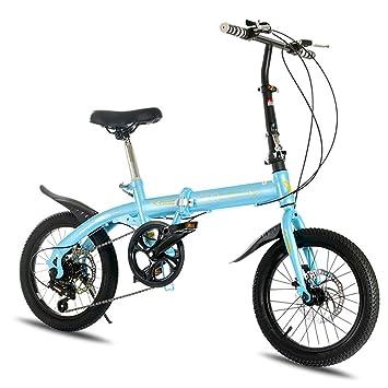 LETFF Adulto Bicicleta Plegable 16 Pulgadas de Velocidad de absorción de Choque Antideslizante niños niños Bicicleta