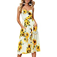 Nantersan Women's Sunflower Dress Summer Spaghetti Strap Sundress Floral Midi Backless Button Up Swing Dresses with Pockets