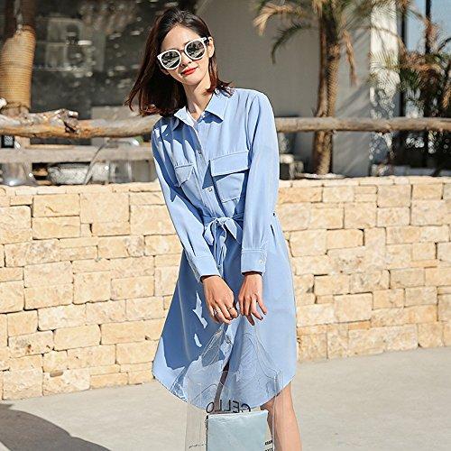 QFFL fangshaifu ロングセクション夏薄い保護服/女性純粋な色のシフォンシャツカーディガン/ルース純粋な色通気性の日の保護空気調節ショール(4色オプション) (色 : 青, サイズ さいず : S s)