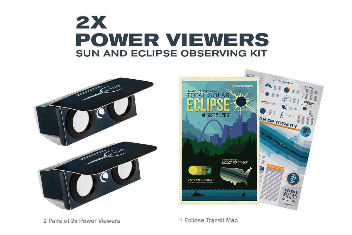Celestron ISO Certified, 2017 North American Total Solar Eclipse EclipSmart 2X Power Viewers Solar Observing Kit, Black (44406) by Celestron (Image #2)