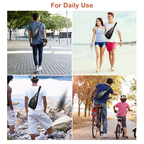 c422713c9 Men Sling Bags, Charminer Genuine Leather Crossbody Shoulder Chest Bag  Business Casual Backpack Out