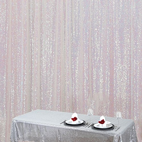 Zdada Iridescent 4ftx6.5ft Shimmer Luxurious Backdrop-Sequins Fabric Backdrop for Wedding/ Party/ Christmas