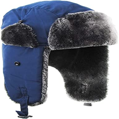 e6890999 Image Unavailable. Image not available for. Color: Solid Soft Fur Aviator  Trapper Hat Navy