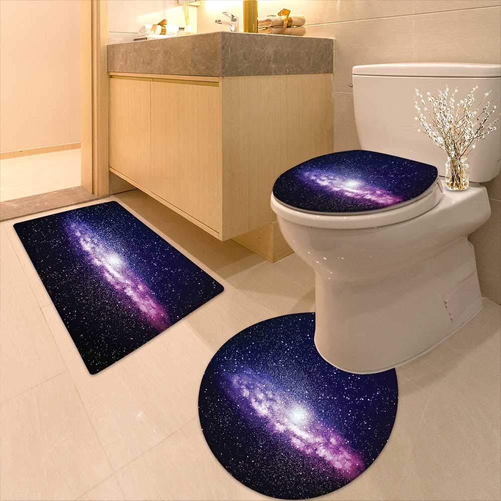 Printsonne 3 Piece Toilet mat Set Nebula Cloud in Milky Way Infinity in Interstellar Solar Explosion Design Purple Dark 3 Piece Shower Mat Set