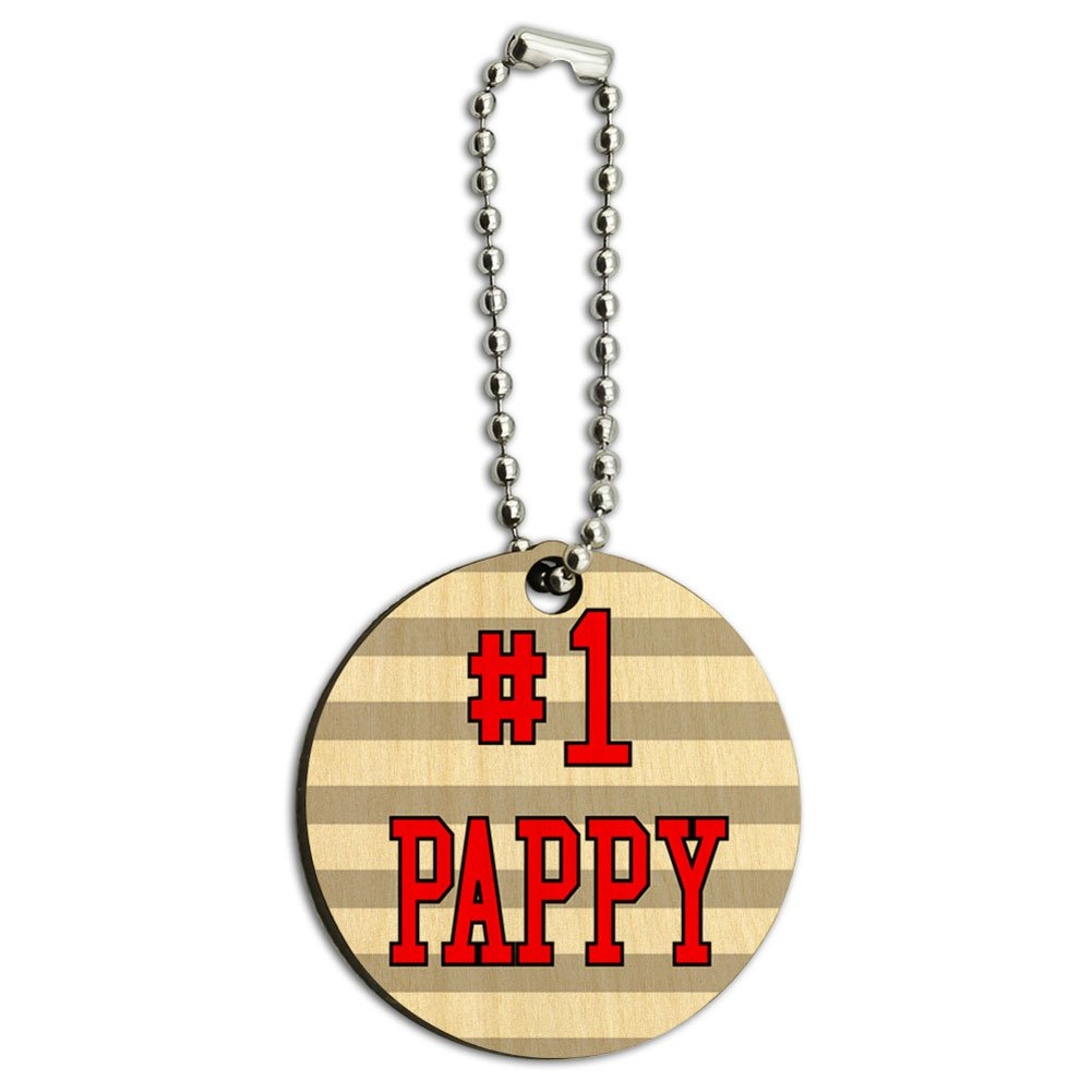 #1 Pappy Number One Dad Father Wood Wooden Round Key Chain