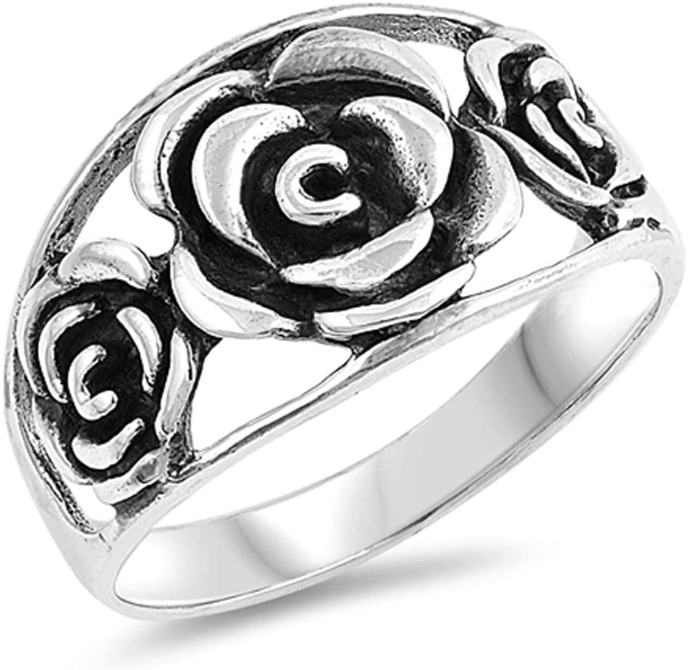 CloseoutWarehouse Oxidized Sterling Silver Heart and Rose Ring