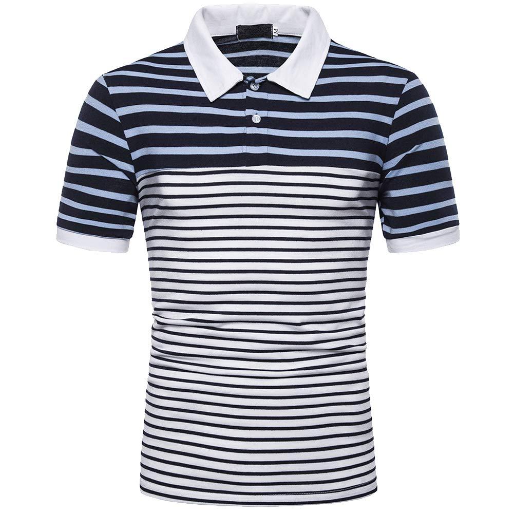 Elegeet Men's Basic Stripe Pique Polo Shirt Short Sleeve Polo Shirt