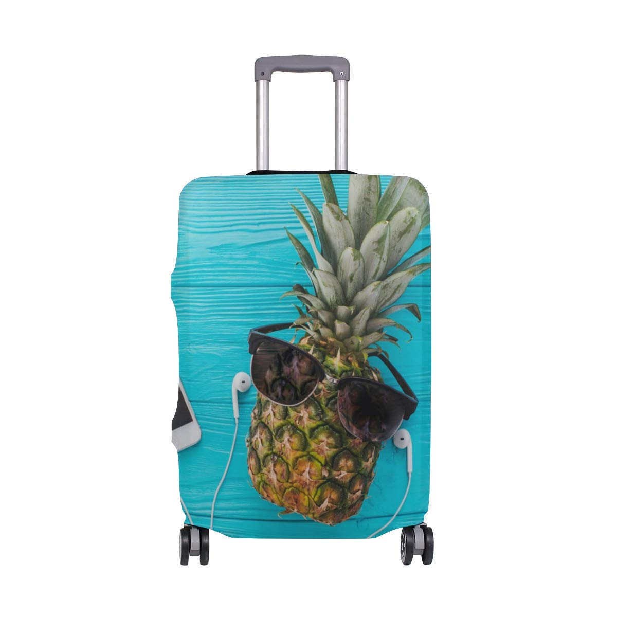 FOLPPLY Funny Pineapple With Glasses Luggage Cover Baggage Suitcase Travel Protector Fit for 18-32 Inch by FOLPPLY