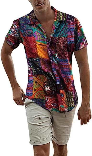 Camisa Hombre Manga Corta Hawaiana Camiseta de Playa para Hombre Camiseta Casual y cómoda para Hombre Camisa Hawaiana Camisa de Manga Corta con Estampado de Hombre: Amazon.es: Ropa y accesorios