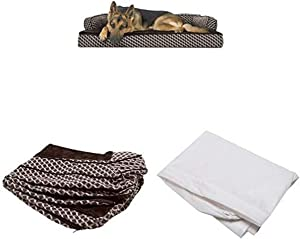 Furhaven Pet Bundle - Jumbo Diamond Brown Orthopedic Plush Faux Fur & Décor Comfy Couch Sofa, Extra Dog Bed Cover, Water-Resistant Mattress Liner for Dogs & Cats