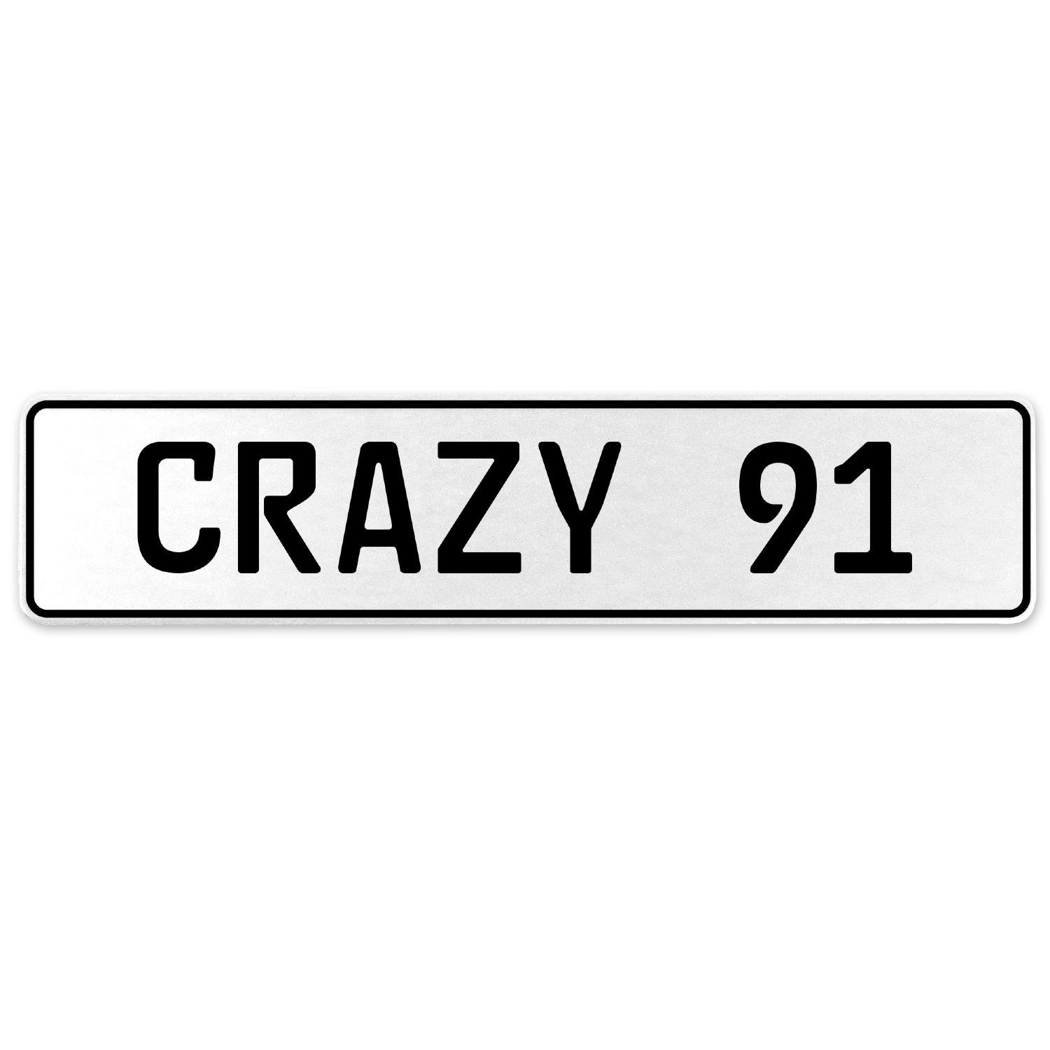 Vintage Parts 555678 Crazy 91 White Stamped Aluminum European License Plate