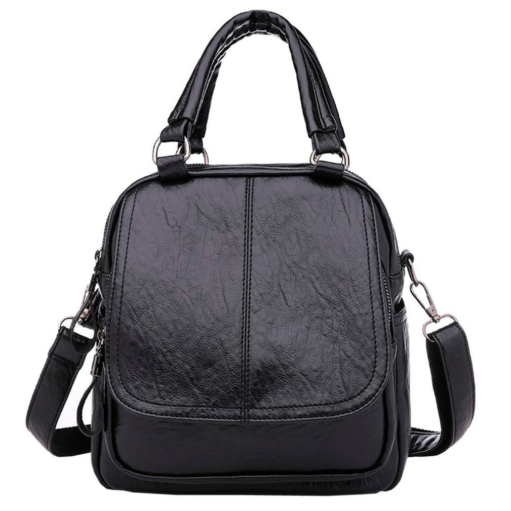 Women Lady Satchel Purses PU Leather Shoulder Tote Bag Backpack Handbag-Vintage Style,Muilty Purpose (Black)