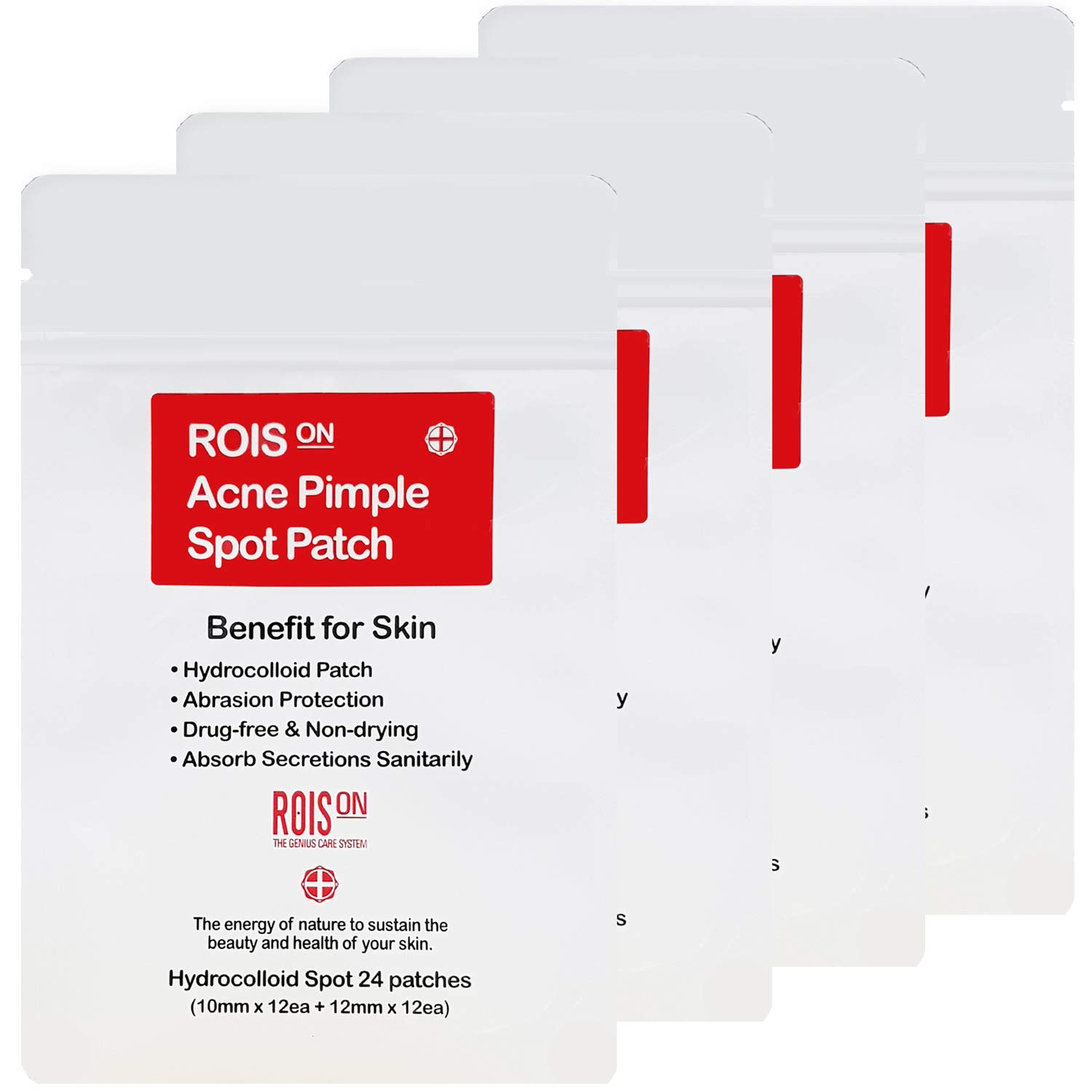 Rois On Hydrocolloid Acne Pimple Healing Spot Patch | FDA approved | 10mm & 12mm set (4 Pack) by Rois On
