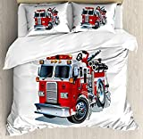 Our Wings Truck Comforter Set,Fire Brigade Vehicle Emergency Aid Public Firefighter Transportation Themed Lorry Bedding Duvet Cover Sets Boys Girls Bedroom,Zipper Closure,4 Piece,Grey Red Twin Size