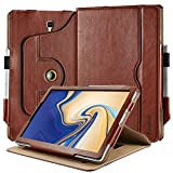 EasyAcc Case for Samsung Galaxy Tab S4 with S Pen Holder, [360 Degree Rotating/ 100% PU Leather Made by Hand/No Plastic Content] and Document Card Slots, with Auto Wake/Sleep, Durable to Use - Brown