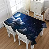 Davishouse Clouds Dinning Tabletop Decor Celestial Solar Night Scene Stars Moon and Clouds Heaven Place in Cosmos Theme Table Cover for Kitchen Dark Blue White 60''x104''