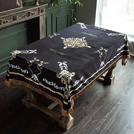 Black Nórdico Deluxe Borla Floral Mantel Mantel Antimanchas ...
