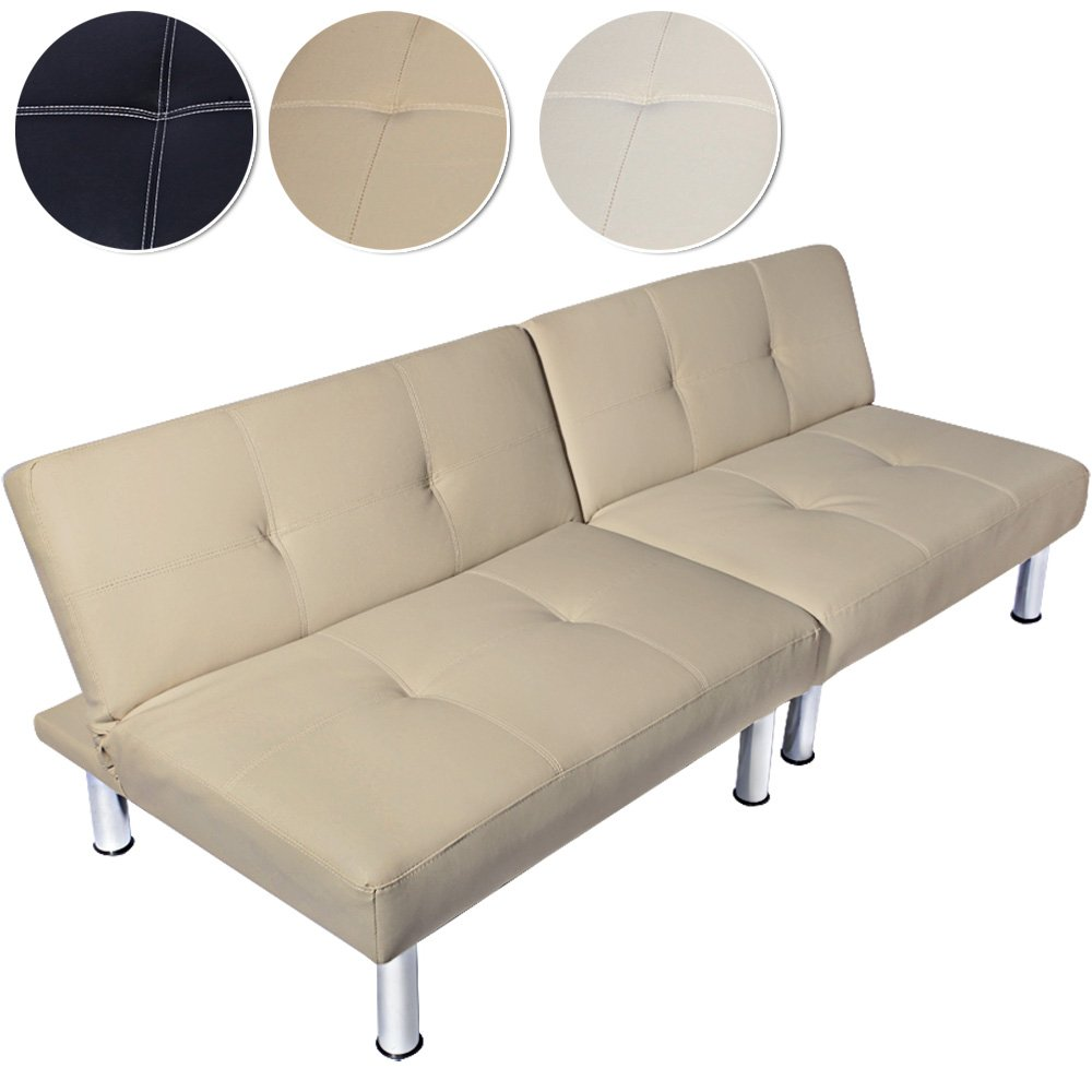 Outstanding Modern Sofa Bed Settee Futon Faux Leather 3 2 Seater Cream Furniture Office Caraccident5 Cool Chair Designs And Ideas Caraccident5Info